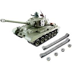 XciteRC U.S. M26 Pershing - RC- Vehículos militares terrestres (Níquel-Hidruro metálico (NiMH), Tanque de juguete)