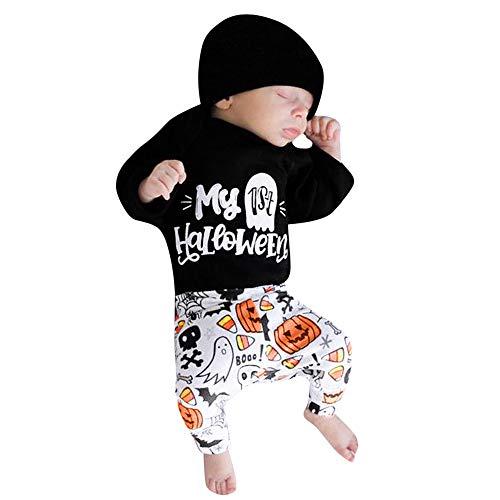 YanHoo Ropa para niños Bebé de Manga Larga de Halloween de Dibujos Animados Carta Impreso Lace + Pants de Tres Piezas Set My ist Halloween Carta Romper Pantalones Trajes de Disfraces