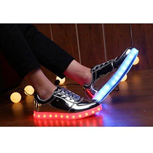 Unisex Sneaker junglest® Leuchtend Silber Led 7 Usb Aufladen Lackleder Für erwachsene Schuhe present Farbe High Handtuch Turnschuhe Top Sport kleines Sportschuhe ZEwqPSU