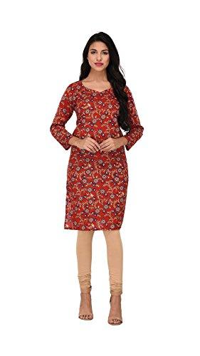 Nakoda Creation 3/4 sleeve Floral Print V-Neck Cotton Kurti for Women,Multicolor_CK-105(L)