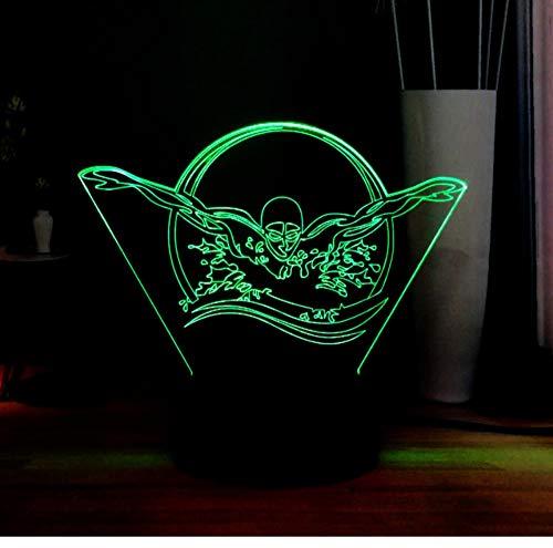 Serie De Deportes De Luz Nocturna De Fantasía Efecto 3D Creativo Color De Color Natación Deportes Led Novelas Decoración Del Hogar Luz Nocturna Juguetes De Regalo De Vacaciones Para Niños