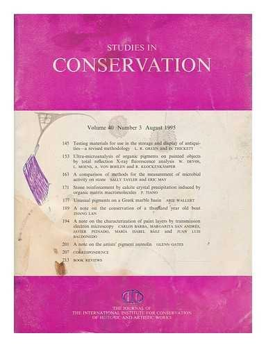 Studies in conservation : the journal of the International Institute for the Conservation of Historic and Artistic Works; Volume 40, Number 3, August 1995