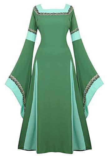 Josamogre Mittelalter Kleid mit Trompetenärmel Party Kostüm Damen bodenlang Vintage Retro Renaissance Costume Cosplay Grün XL