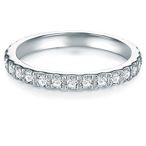 Tresor 1934 Damen Memoirering Sterling Silber Zirkonia weiß Brillantschliff - Verlobungsring Silberring Damen Antragsring -