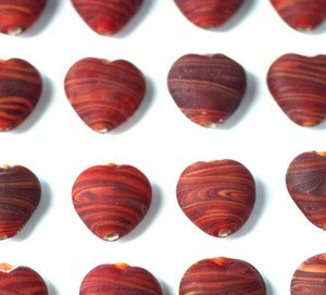 10pcs Red SWIRL Frosted HEART Glass Beads (15mm) *Stunning Quality Beads HAND MADE Beads for Jewellery Making*