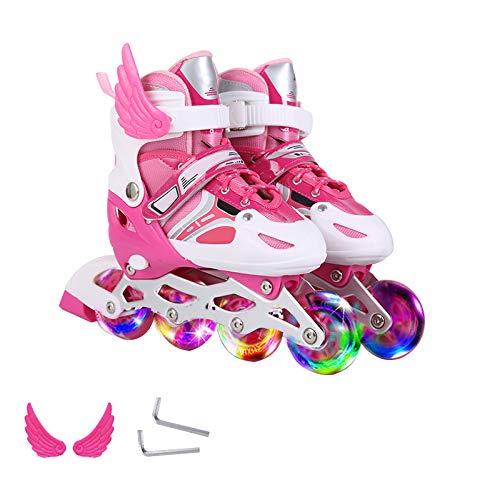 ZCRFY Rollschuhe Roller Skates Kinder Anfänger Mädchen Jungen Inline Skates Kinder Männer und Frauen 3-12 Jahre Alt Kinder Flash Einstellbare Größe Erwachsene Rollerblades,Pink-S(26-32)-Set2