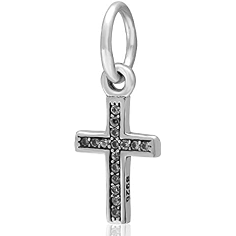 CharmsJewelry Authentic 925 Sterling Silver Dangle Charm Bead Cross Symbol of Faith for Snake Chain Bracelet by Fits Pandora Style Bracelet