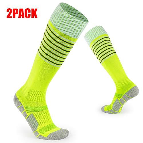 MORUDO 2 Paare Fußballsocken Kinder Kompressionsstrümpfe über die Knie angenehm eng für Fußball, Grün XS(25-29)