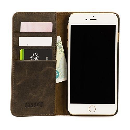 iPhone 6S Plus Ledertasche / Hülle. Echtes, dünnes Leder mit Standfunktion und Bargeld- / Visitenkartenslot, Braun von TORRO Dunkelbraun