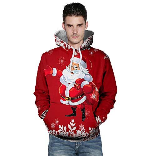 SEWORLD Weihnachten Christmas Herren Männer Herbst Winter Weihnachten Drucken Langarm Mit Kapuze Sweatshirt Top Bluse(X1-b-rot,EU-48/CN-XL)