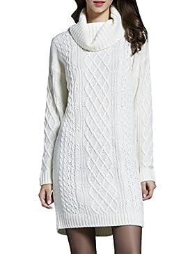 ELLAZHU Mujeres Moda Turndown Collar mangas largas costillas Knitting suéter largo YY41 Blanco L