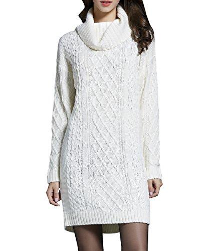 ELLAZHU Femme À La Mode Col Roulé Manches Longues Tricot À Côtes Pull Long YY41 White L