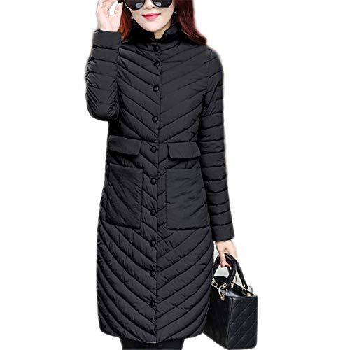 Loozo Winter Women Casual Long Sleeve Slim Fashion Lapel Cotton Jacket Black L
