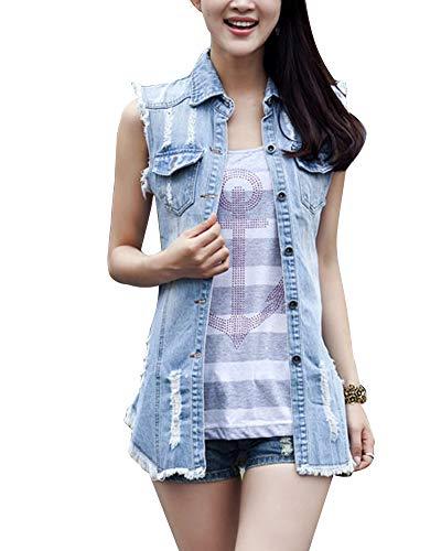 PengGengA Donna Lungo Gilet in Jeans Risvolto Senza Maniche Denim Giacca Slim Fit Cardigan Cappotto Azzurro Chiaro S