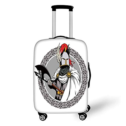 Travel Luggage Cover Suitcase Protector,Medieval Decor,Illustration of The Medieval Knight with Traditional Costume and Ancient Mask Heroic Past,Multi,for Travel,M