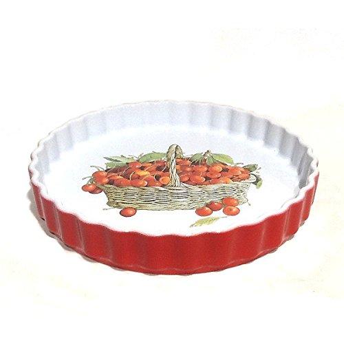 CCF Terre étoilée - Tourtière céramique rouge 28 cm décor cerises *