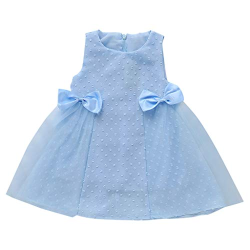 LEXUPE Kleinkind Kinder Baby Mädchen Spitze Bogen Tüll Print Prinzessin Kleid Sommerkleid Sommer(Blau,120)