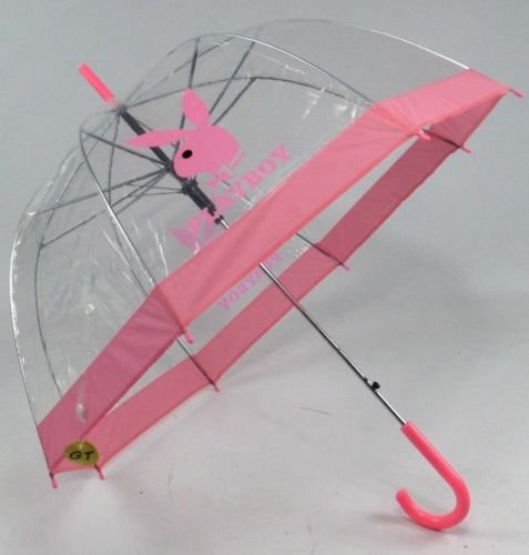 ladies-womens-dome-umbrella-playboy-pink-plastic-transparent-with-crock-handle