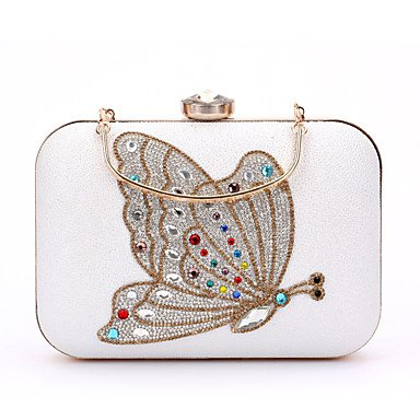 pwne L. In West Woman Fashion Luxus High-Grade Schmetterling Diamanten Abend Tasche White