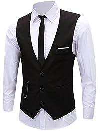 4f04c7be0171 Chouette Homme Vintage Gilet Costume Casual Veste sans Manches Slim Fit  Business Mariage
