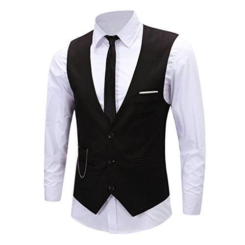 Chouette Homme Vintage Gilet Costume Casual Veste sans Manches Slim Fit Business Mariage Noir 46 FR/Tag XL