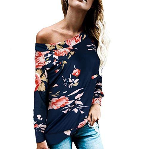 Damen Oberteil Sexy Off Shoulder Jumper Blumendruck T-Shirt Sweatshirt Langarmshirt Lose Blüte Drucken Crop Pullover Locker Beiläufiges Tops Hemd Bluse mit Rundhals -