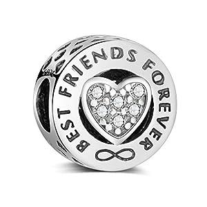 """La Menars""""Best Friends Forever"""" Freundschaft Charm Anhänger Authentic 925 Sterling Silber Beads für Pandora & alle Europäische Charm-Armbänder und Ketten"""