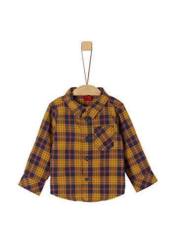 s.Oliver Baby-Jungen 65.909.21.4372 Hemd, Gelb (Dark Yellow Check 15n1), (Herstellergröße: 80)