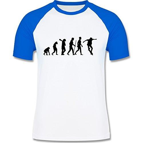 Evolution - Skateboard Evolution - zweifarbiges Baseballshirt für Männer Weiß/Royalblau