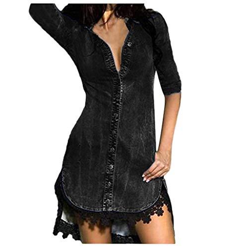 LILIHOT Womens Button Down Denim Sexy Kleid Damen Lace Jeans Long Tops Shirt Kleid Damen V-Ausschnitt Lose Langarm Oberteile Oversize Lang Sweatshirt Tops -
