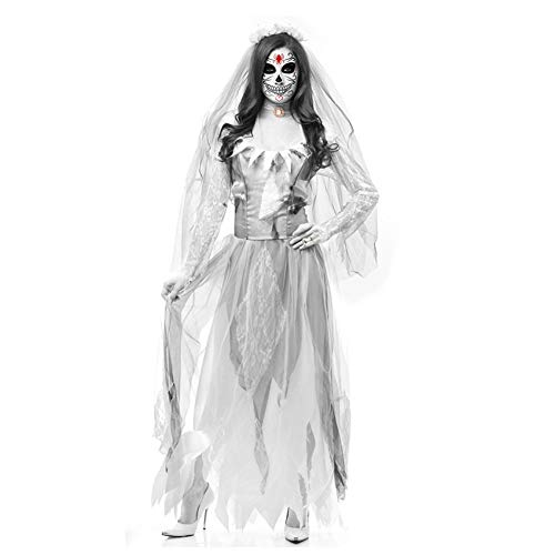 Fancy Dress Kostüm Wasser Themen - BGFDSV Halloween Kleid Braut Kleid Horror Devil Ghost Braut Kleid Halloween Kostüme Für Frauen Scary Fancy Party Kleider Outfit, Weiß, L