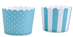 Cupcake Cups , 12 Cupcake Backformen Papier ,5 cm, Türkis-Weiss