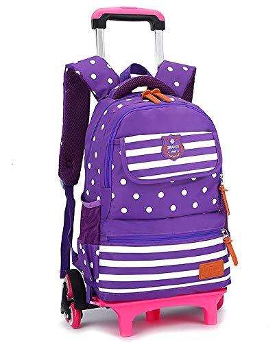 Trolley Rucksack - Rollen Schulrucksack Trolley Kinder Schulranzen Trolley Tasche für Mädchen Jungen, Lila, 6 Räder