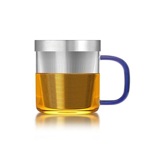 Teeglas mit Teesieb und Deckel (350 ml) - Königsblau - SAMADOYO®