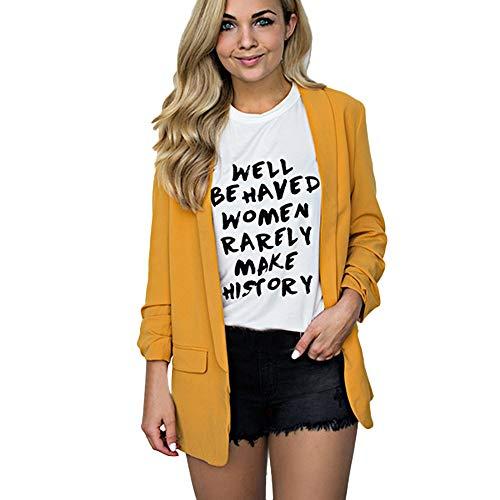 Heligen Mujer Abrigo de Simple-Fashion Invierno y OtoñO Elegantes Chaquetas de Traje y Blazers de Abrigo Cardigan Outwear De Manga Larga Talla Grande Abrigo Remata Casual (S-5XL)