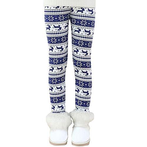 Reciy Leggings Forrados de Lana Invierno Niña Pantalones Grueso 2-11 Años 130 blue elk