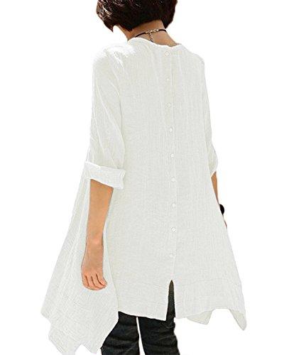 BIUBIU Damen Vintage Langarm Loose Kleid Boho Taschen Asymmetrisch Kleider DE 34-46 Weiß