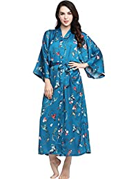 ArtiDeco Women s Kimono Dressing Gown Satin Kimono Robe Long Chinese  Japanese Style for Nightwear Girl s Bonding 4631f6b4a