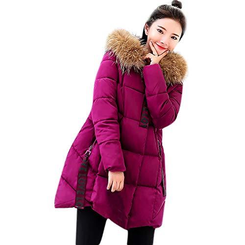 TWBB Damen Winterjacke Hoodie Wintermantel Einfarbig Großes Gitter Daunenjacke Jacke Outwear Frauen Winter Warm Daunenmantel Solide Lässig Dicker Winter Slim Down Jacke Mantel