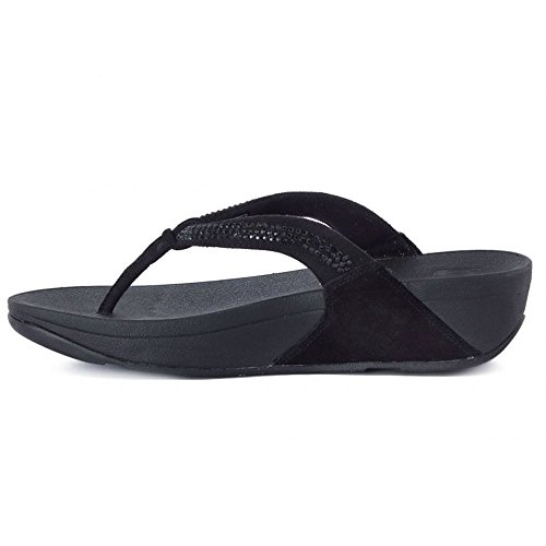 FitFlop Womens Crystal Swirl Suede Sandals All-Black