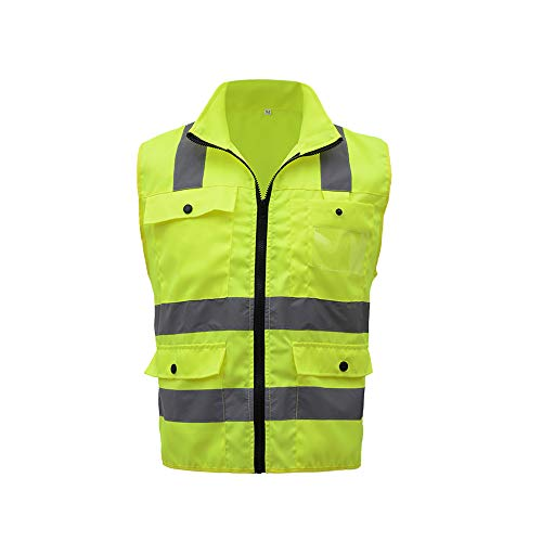 Festnight SFVest Hohe Sichtbarkeit Reflektierende Warnweste Reflektierende Weste Multi Taschen Arbeitskleidung Sicherheit Arbeitskleidung Tag Nacht Motorrad Radfahren Warnung Sicherheitsweste