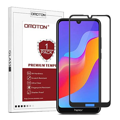 OMOTON Panzerglas Schutzfolie kompatibel für Honor 8A/ Huawei Y6 2019/ Huawei Y6 Pro 2019, 6.09'', volle Bedeckung,9H Härte, Anti-Kratzer, Anti-Öl, Anti-Bläschen