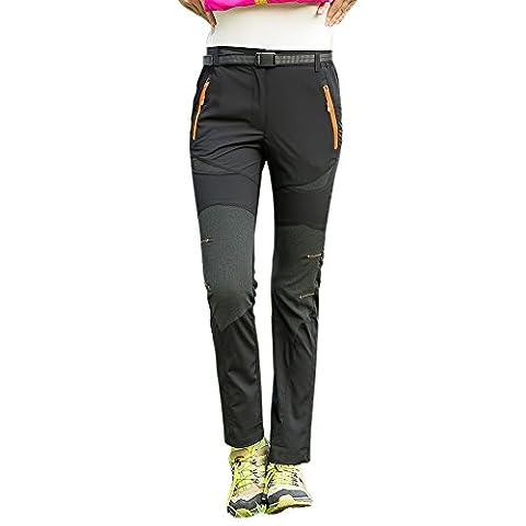 Lanbaosi Pantalon de Randonnée Stretch Léger à Séchage Rapide pour Femme Randonnée Pantalon de Sport Camping Running Respirant Noir XL/FR 36