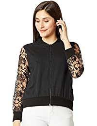 Miss Chase Women's Black Lace Bomber Jacket
