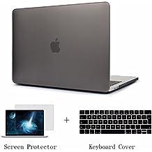 Batianda Funda Dura MacBook Pro 15 Pulgadas Touch Bar 2017 & 2016 A1707 Ultra Delgado Plástico Con Cubierta del teclado & Protector de pantalla, Gris