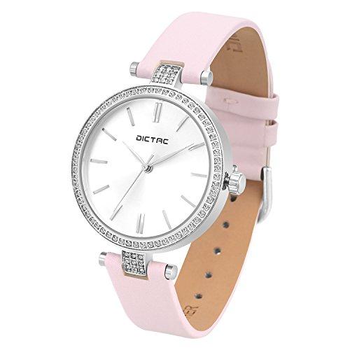 Dictac Damen Uhr Frauen Wasserdichte Analoge Quarz Zifferblatt Swarovski Kristall Elegant Leder Armbanduhr (Rosa)