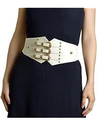 ZIFEIYU Cinturones de cintura elástica de cuero de la vendimia de las mujeres  Cinturones de moda con hebilla de metal… 378ac19fcce9