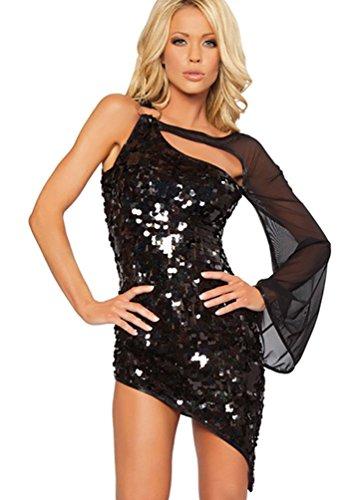ulder Lateintanz Kleidung Salsa Tango Mini Kleider Tanzballkleider Halloween Kostüm mit Tüll -ärmel & Pailletten Schwarz (Hollween Kostüme)