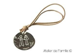 """Porte-clés homme médaille dessiné """"Je t'aime mon chéri"""""""