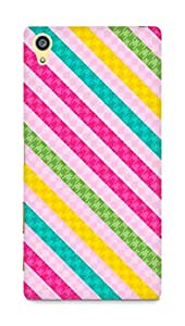 AMEZ designer printed 3d premium high quality back case cover for Sony Xperia Z5 Plus (colourful stripes pink)